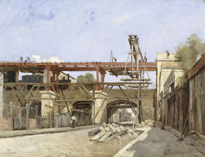 Toile de Paul Désiré Trouillebert, travaux de rehaussement du chemin de fer de Petite Ceinture, pont rue de la Voute.