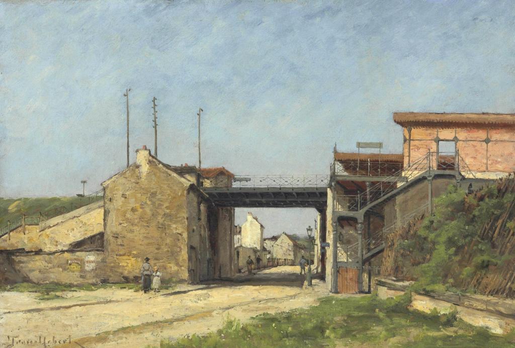 Toile de Paul Désiré Trouillebert, gare de Bel-Air Ceinture côté rue Montempoivre en direction de Paris Bel-Air et Paris-Bastille, 1888.